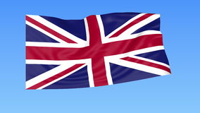 Waving flag of the United Kingdom of Great Britain and Northern Ireland, seamless loop. Exact size, blue background. Flapping flag of the UK, blue background stock video footage