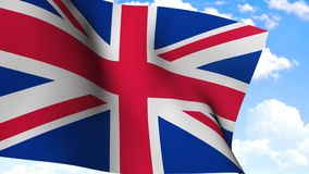 Waving Flag of United Kingdom. Flag of United Kingdom waving in windy air stock video