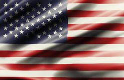 Waving flag of United State of America stock photo