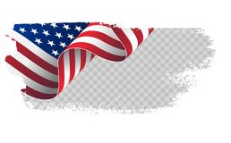 Waving flag United States of America. illustration wavy American Flag for Independence Day brush stroke background. American Flag Flowing. American flag on vector illustration