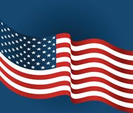 United states flag closeup on a blue background Stock Photos