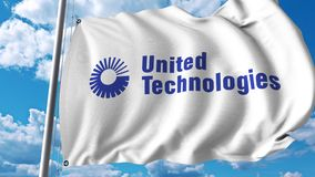 Waving flag with United Technologies logo. 4K editorial animation. Waving flag with United Technologies logo. 4K editorial clip royalty free illustration