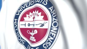 Waving flag with University of Arizona emblem, close-up. Editorial loopable 3D animation. Waving flag with University of Arizona emblem. Editorial 3D stock video footage