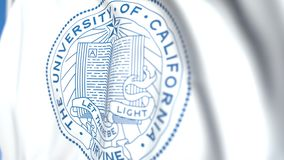 Waving flag with University of California Irvine emblem, close-up. Editorial loopable 3D animation. Waving flag with University of California Irvine emblem stock video footage