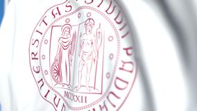 Waving flag with University of Padua emblem, close-up. Editorial loopable 3D animation. Waving flag with University of Padua emblem. Editorial 3D stock video footage