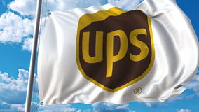 Waving flag with UPS logo against sky and clouds. Editorial 3D rendering. Waving flag with UPS logo against sky and clouds. Editorial 3D vector illustration