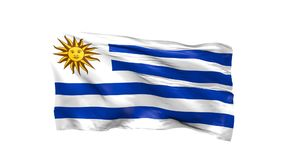 Waving flag of Uruguay. On white, 3d animation stock video footage