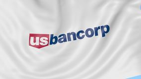 Waving flag with U.S. Bancorp logo. Seamles loop 4K editorial animation. Waving flag with US Bancorp logo. Seamles loop 4K editorial clip stock video