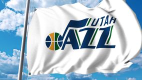 Waving flag with Utah Jazz professional team logo. 4K editorial clip. Waving flag with Utah Jazz professional team logo. 4K editorial animation stock video footage