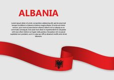 Waving Flag vector illustration. Waving Flag of Albania, vector illustration royalty free illustration