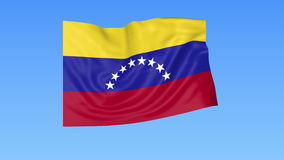 Waving flag of Venezuela, seamless loop. Exact size, blue background. Part of all countries set. 4K ProRes with alpha. Flapping flag of Venezuela, blue vector illustration
