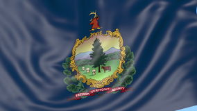 Waving flag of Vermont state against blue sky. Seamless loop 4K clip. ProRes stock footage