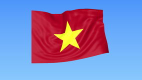 Waving flag of Vietnam, seamless loop. Exact size, blue background. Part of all countries set. 4K ProRes with alpha. Flapping flag of Vietnam, blue background stock illustration