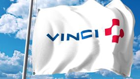 Waving flag with Vinci SA logo against clouds and sky. Editorial 3D rendering. Waving flag with Vinci logo against clouds and sky Royalty Free Stock Photo