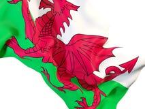 Waving flag of wales. Closeup of waving flag of wales. 3D illustration Stock Image