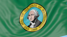 Waving flag of Washington against blue sky. Seamless loop 4K clip. Waving flag of Washington state against blue sky. Seamless loop 4K clip ProRes stock video