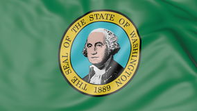 Waving flag of Washington state. 3D rendering Stock Image