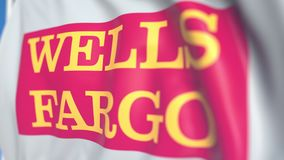 Waving flag with Wells Fargo logo, close-up. Editorial loopable 3D animation vector illustration