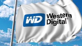 Waving flag with Western Digital logo. 4K editorial animation. Waving flag with Western Digital logo. 4K editorial clip vector illustration