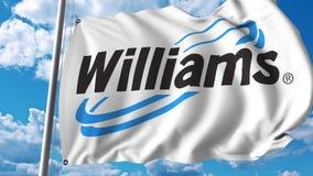 Waving flag with Williams Companies logo. 4K editorial animation. Waving flag with Williams Companies logo. 4K editorial clip royalty free illustration
