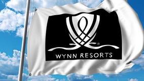 Waving flag with Wynn Resorts logo. 4K editorial animation. Waving flag with Wynn Resorts logo. 4K editorial clip vector illustration