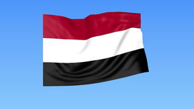 Waving flag of Yemen, seamless loop. Exact size, blue background. Part of all countries set. 4K ProRes with alpha. Flapping flag of Yemen, blue background stock illustration