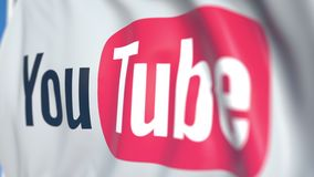 Waving flag with YouTube, LLC logo, close-up. Editorial loopable 3D animation stock illustration