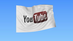 Waving flag with Youtube logo, seamless loop, blue background. Editorial animation. 4K ProRes, alpha stock footage