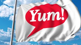 Waving flag with Yum Brands logo. 4K editorial animation. Waving flag with Yum Brands logo. 4K editorial clip royalty free illustration