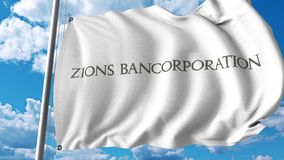 Waving flag with Zions Bancorporation logo. 4K editorial animation. Waving flag with Zions Bancorporation logo. 4K editorial clip vector illustration