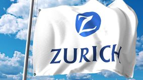 Waving flag with Zurich Insurance Group logo against clouds and sky. Editorial 3D rendering Royalty Free Stock Images