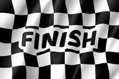Waving flagcing, inscription finish. Waving flag auto racing, inscription finish, realistic banner. Symbol of start and finish of race cars on route. Vector Royalty Free Stock Photos