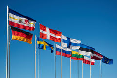 Waving flags of baltic. Sea Stock Photo