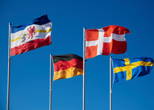 Waving flags of baltic. States Royalty Free Stock Photo