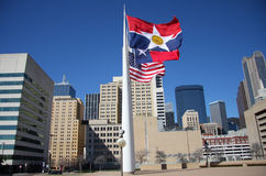 Waving flags in City Hall Plaza Royalty Free Stock Photo