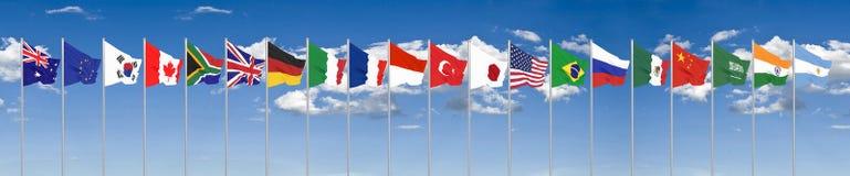 Waving flags countries of members Group of Twenty. Big G20 in Japan in 2020 . Blue sky background. 3d rendering.  Illustration royalty free stock photo