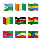 Waving flags of different countries. Flag icons on white background. Vector content. 3D waving position with shadow. Each flag is isolated on its own layer vector illustration