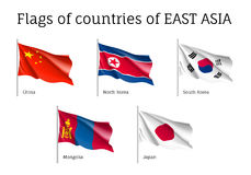 Waving flags of East Asian. Set of waving flags of East Asian countries: China, South and North Korea, Japan and Mongolia. Collection with 5 signs of Asian Royalty Free Stock Photos