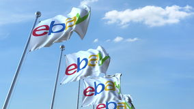 Waving flags with Ebay logo against sky, editorial 3D rendering. Waving flags with Ebay logo against sky, editorial 3D royalty free illustration