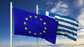 Waving flags of EU and Greece on flagpole Stock Photos