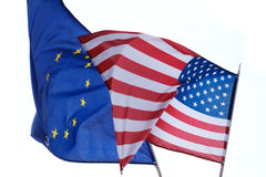 Waving flags of the European Union Stock Photography
