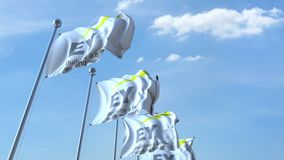 Waving flags with EY logo against sky, seamless loop. 4K editorial animation. Waving flags with EY logo against sky, seamless loop. 4K editorial clip royalty free illustration