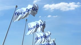 Waving flags with Facebook logo against sky, seamless loop. 4K editorial animation. Waving flags with Facebook logo against sky, seamless loop. 4K editorial clip royalty free illustration