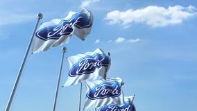 Waving flags with Ford logo against sky, seamless loop. 4K editorial animation. Waving flags with Ford logo against sky, seamless loop. 4K editorial clip stock illustration