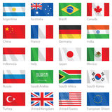 Waving flags of G-20 countries. Vector scalable file of G-20 flags. G-20 is an economic forum consisting of 19 of the world's largest national economies, plus Stock Image