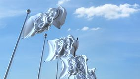 Waving flags with General Electric logo against sky, seamless loop. 4K editorial animation. Waving flags with General Electric logo against sky, seamless loop royalty free illustration