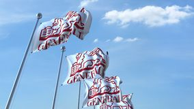Waving flags with Generali logo against sky, seamless loop. 4K editorial animation. Waving flags with Generali logo against sky, seamless loop. 4K editorial clip vector illustration