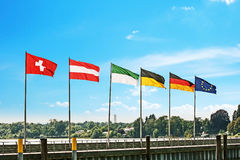 Waving flags Stock Image