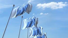 Waving flags with Goldman Sachs logo against sky, seamless loop. 4K editorial animation. Waving flags with Goldman Sachs logo against sky, seamless loop. 4K stock illustration