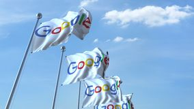 Waving flags with Google logo against sky, seamless loop. 4K editorial animation. Waving flags with Google logo against sky, seamless loop. 4K editorial clip royalty free illustration